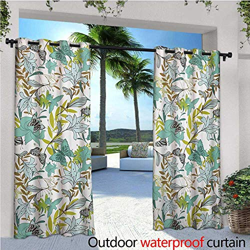 r/Outdoor Single Panel Print Window Curtain Flying Birds Butterflies Floral Elements Art Wildflowers Nature Silver Grommet Top Drape W96 x L96 Seafoam Yellow Green Caramel ()