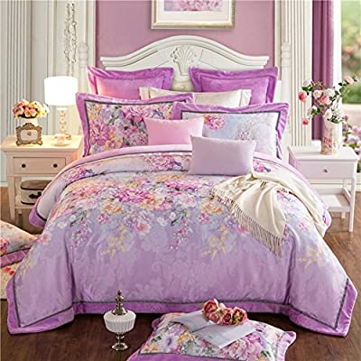DACHUI Cotton bed sheets - 1800 beds fade, stain resistant - Hypoallergenic - 4 units (flower)-F King