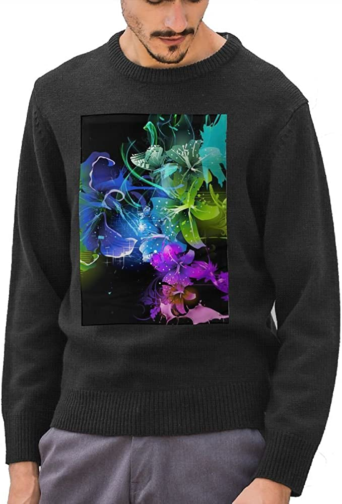 Mr.Roadman Mens Abstract Flowers Logo DIY Design Pattern Casual Long Sleeve Sweater Jumpers Pullover