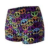 Yoga Drawer Cascading Peace Signs Black, Pastel Green, Pastel Blue, Purple, Yellow, Orange Yoga Short, S
