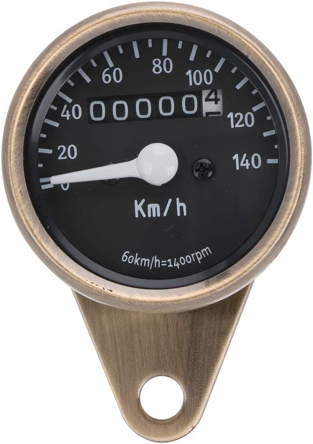 Motorcycle Cafe Racer Speedometer Odometer Tachometer LED Gauge 0-140km//h For Yamaha Suzuki Honda Kawasaki Harley Cruiser Chopper Red Bronze