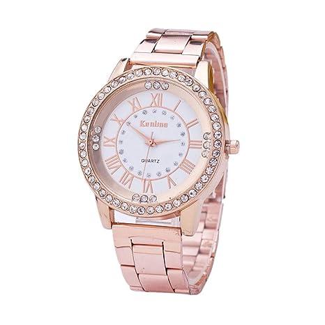 HULKY - Reloj de pulsera analógico de cuarzo para hombre con diamantes de imitación de cristal