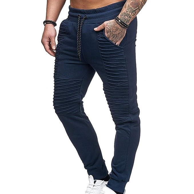 Moda Pantalones Largos Pantalones Deportivos Lazo sólidos Casuales Hombre Casuales Slim Fit rayados, Ajustados Pantalones Harem Jogger tamaño M-3XL Comfy ...