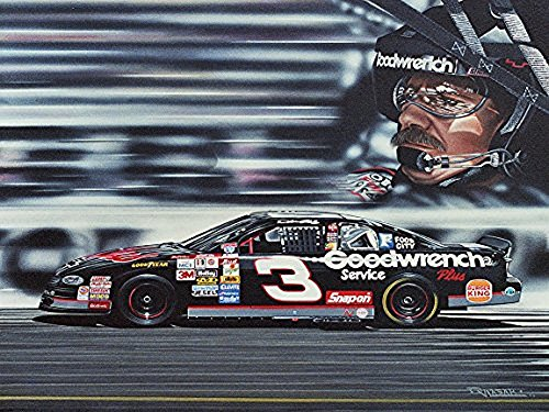 Buyartforless Canvas Dale Earnhardt by Darryl Vlasak 24x18 Painting Print on Wrapped Canvas Memorabilia NASCAR Legend. Made in The USA!