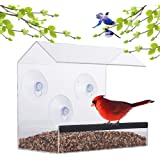 Window Bird Feeder – Acrylic Clear Bird Feeders – Bird Safe Scratch Resistant and Easy to Clean – Large Dimensions for Optimal Bird Admiring - Watch Hummingbirds, Cardinals and More