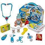 Arztset, Arztkoffer, KinderspielzeugArztset mit Puppe Zubehör Doktorkoffer Spielzeug 19 Stk für Kinder ab 3 Jahren