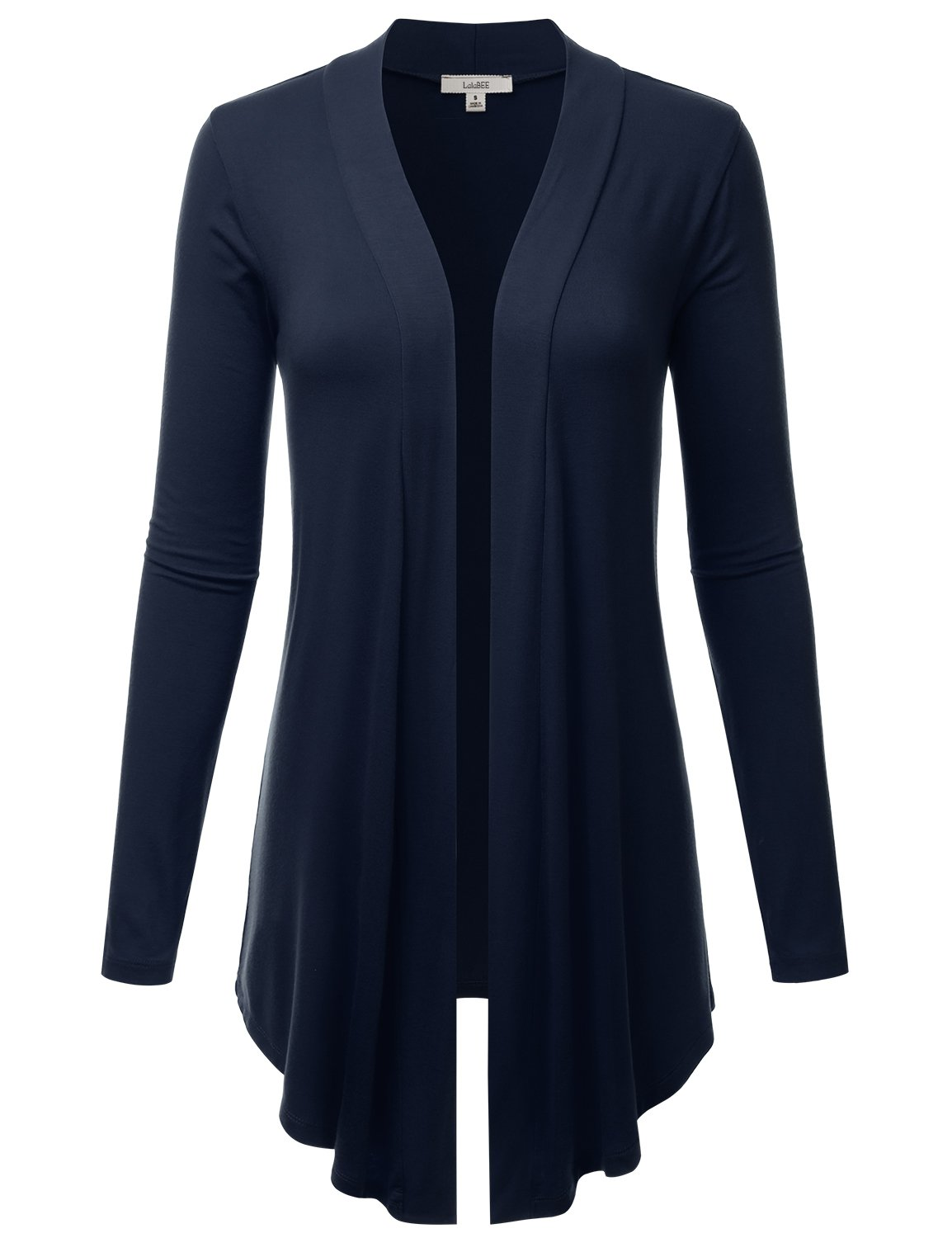 LALABEE Women's Draped Open-Front Long Sleeve Light Weight Cardigan-MIDNIGHTNAVY-S