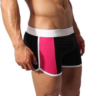 02fd4efa94 Koolee Men's Patchwork Briefs Swimming Trunks Boxer Swim Pants Sexy Swimwear  Sport Underwear Tight Boxer Brief