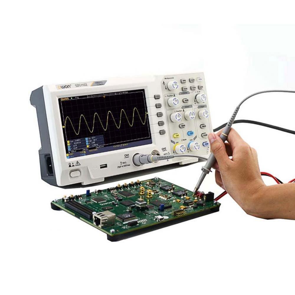 2 canaux OWON Oscilloscope num/érique SDS1102 8 bits pas par 1 1000s // div /échelle horizontale bande passante 100 MHz : 2ns // div /écran LCD couleur 7 s//div taux d/échantillonnage 1GS // s