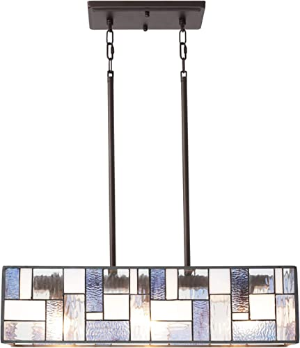 VINLUZ 3 Light Tiffany Style Kitchen Island Lighting with Stained Glass Shade Modern Pendant Lighting Fixtures Hanging for Dining Room Kitchen Island Cafe Bar