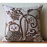 """Handmade Beige Decorative Pillows Cover 14 x 14, Sequins & Beaded Owl Pillows Cover, 14""""x14"""" Cushion Covers, Square Silk Pillowcase, Floral Contemporary Decorative Pillows Cover -Ollie The Owl"""