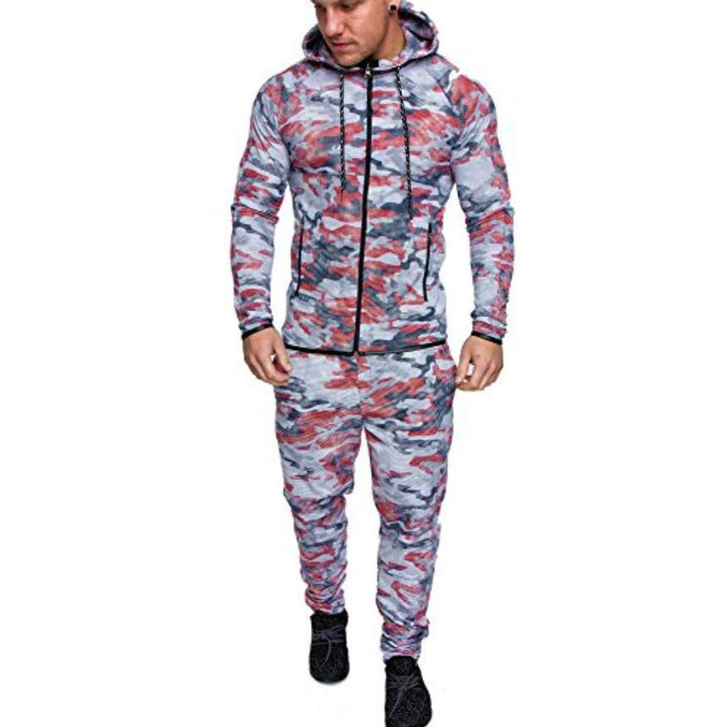 1KTon Men's Autumn Camouflage Long Sleeve Zipper Sweatshirt Top Pants Sets Sports Suit Tracksuit with Pocket by 1KTon