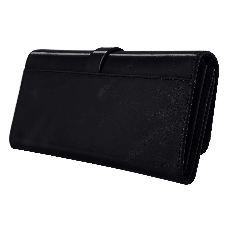 de20146fd102 Amazon.com  Kattee Vintage Women s RFID Blocking Genuine Leather Trifold  Wallets (Black)  Shoes