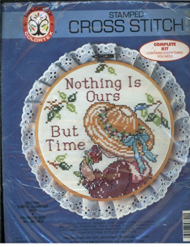 Vintage 1988 Colortex Stamped Cross Stitch - Nothing is ours But Time (Wearing Bonnet)