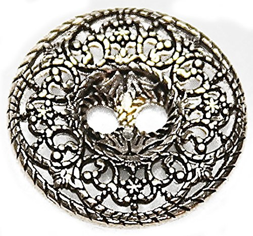 "Fancy & Decorative {21mm w/ 2 Holes} 3 Pack of Large Size Round ""Flat"" Sewing & Craft Buttons Made of Genuine Metal w/ Elegant Shiny Metallic Fancy Period Antique Old Design {Gold & Black}"
