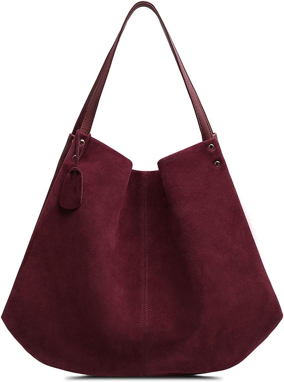 New Women Real Split Suede Leather Hobos Bag Designer Female Leisure Large Shoulder Bags Solid Color Travel Casual Handbag