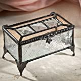 J Devlin Box 514 Champagne and Clear Vintage Stained Glass Keepsake Box Jewelry Trinket Display Chest