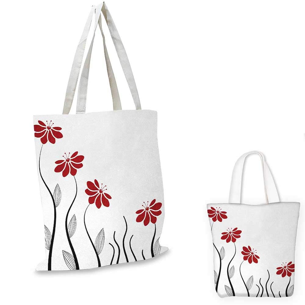 Flower canvas messenger bag Floral Petals with Striped Leaves and Lines Modern Style Geometrical Design Print canvas beach bag Red and Black 14x16-11