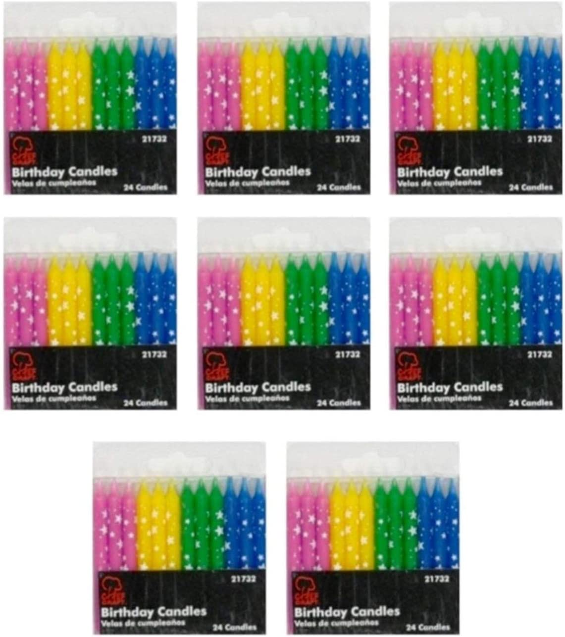 Chef Craft Birthday Candles, Polka Dot Stars, Pack of 8 - Total of 192 Candles