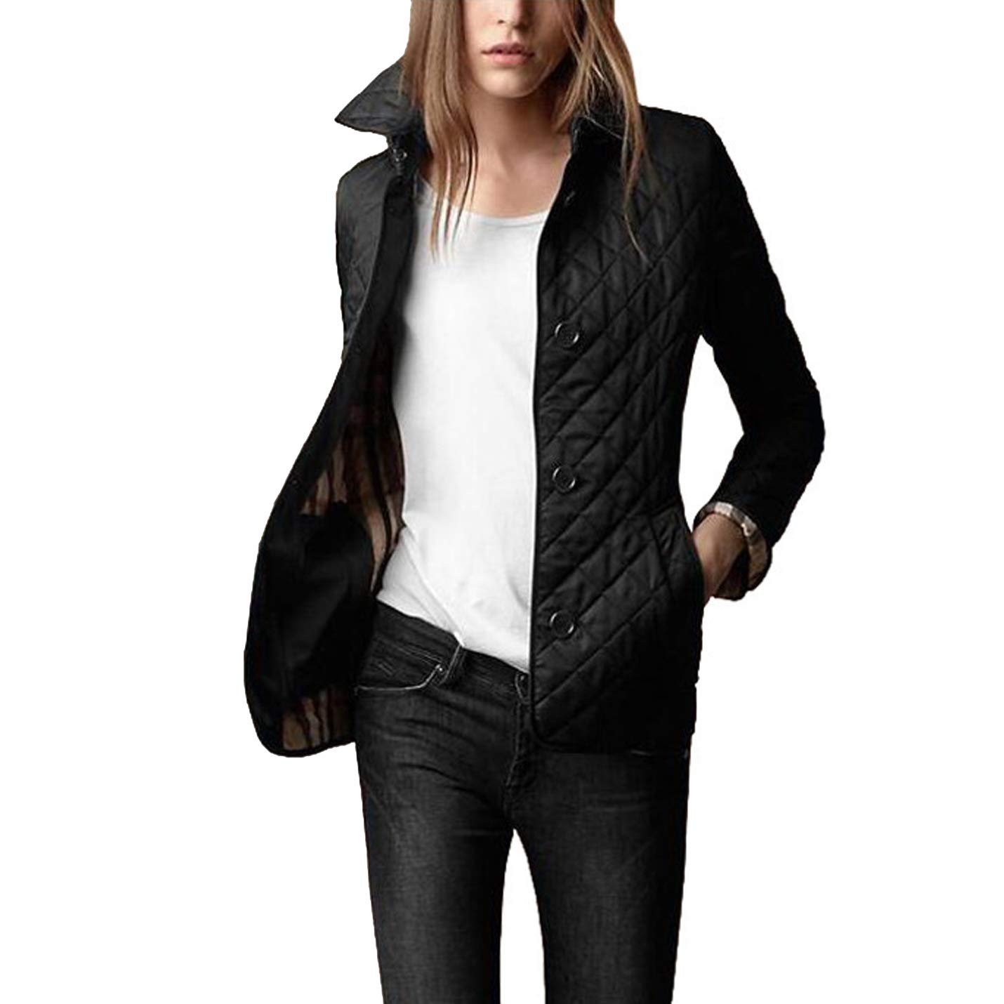 Flygo Women's Diamond Quilted Jacket Stand Collar Button Closure Coat with Pockets (Black, Medium) by Flygo