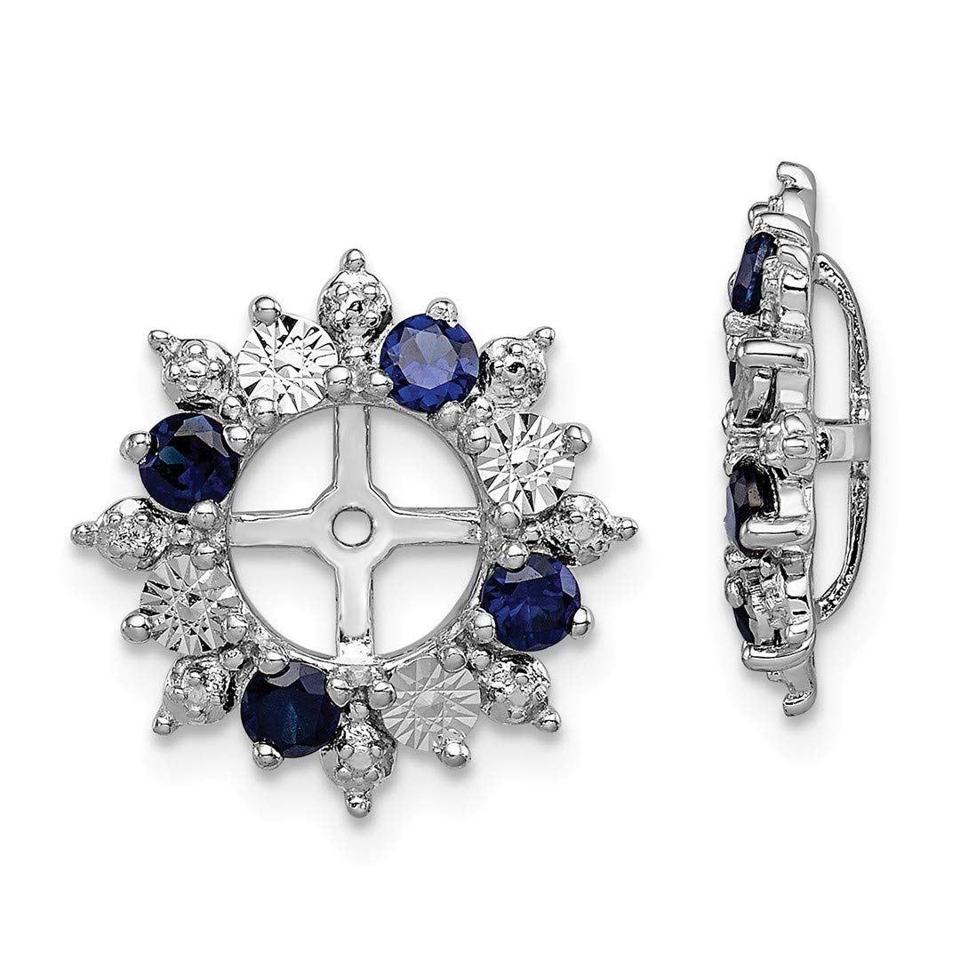 ICE CARATS 925 Sterling Silver Created Sapphire Earrings Jacket Birthstone September Fine Jewelry Ideal Gifts For Women Gift Set From Heart
