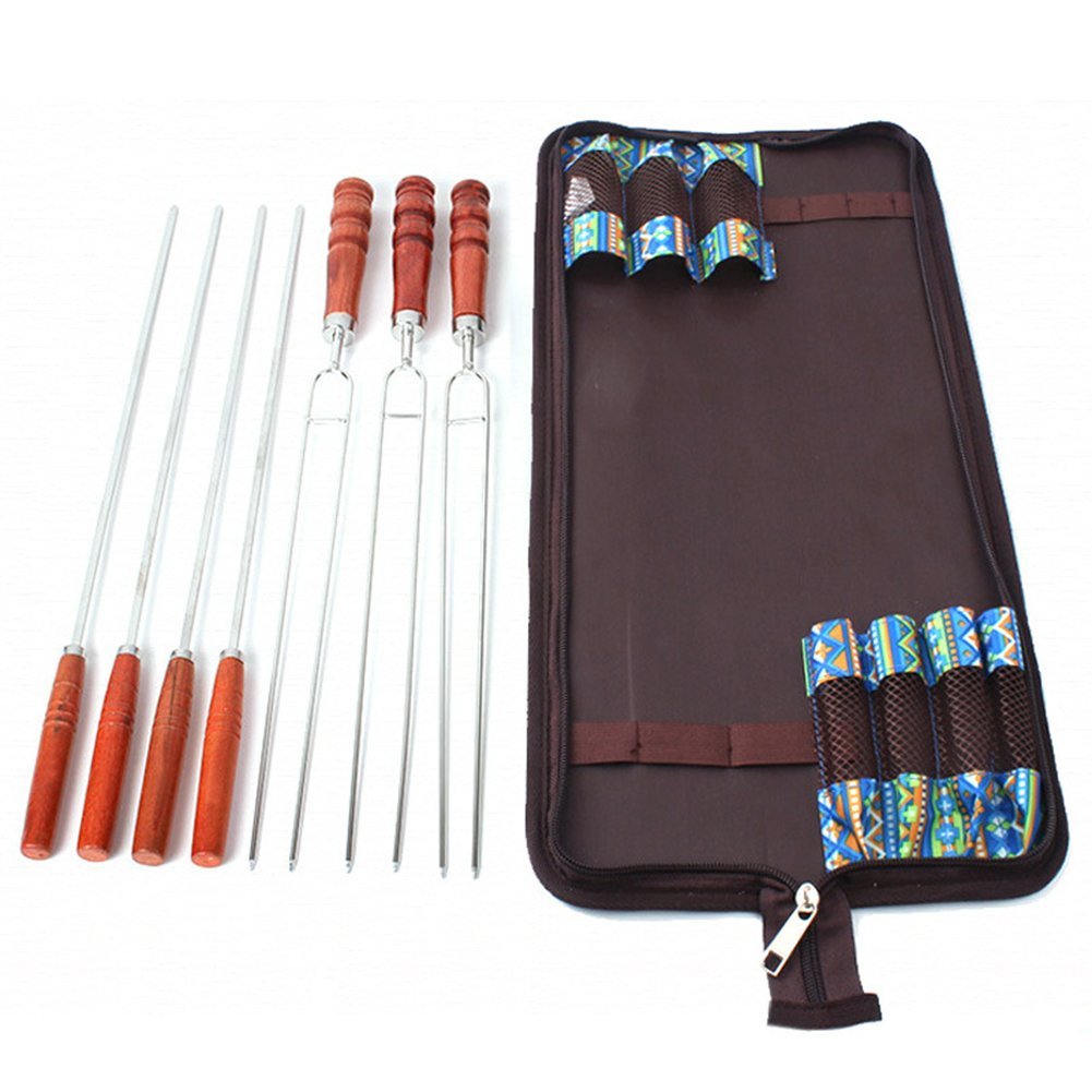 BBQ Sticks with Wooden Handle | Barbecue Skewers Marshmallow Roasting Sticks Wooden Handle | Hot Dog Fork for Camping Cookware | BBQ Fork for Campfire Cooking Camping Picnic with Grill Sticks (7Pcs) by JPTACTICAL