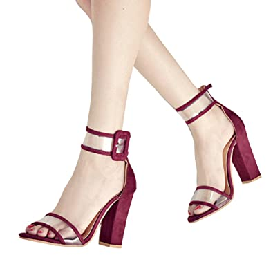 e5fb0f184a5 Kootk Women High Block Heel Sandals Buckle Strappy Peep Toe Pumps Transparent  Shoes 10 cm Fashion