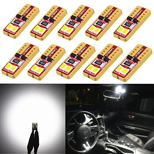 Alla Lighting 10pcs 2018 Newest Version Miniature T10 Wedge 2835-SMD High Power Super Bright 194 168 2825 175 W5W LED Bulb - 6000K Xenon White LED Lights Bulbs …