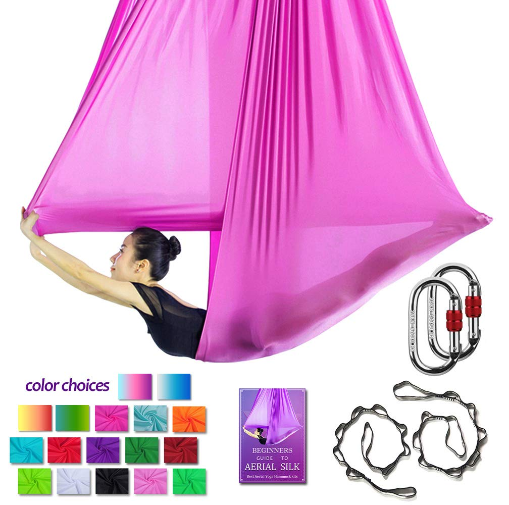 Aerial Yoga Hammock L:5M W:2.8M Aerial Pilates Silk Yoga Swing Set with 2000 Ibs Load Include Carabiner,Daisy Chain, Pose Guide (Pink)