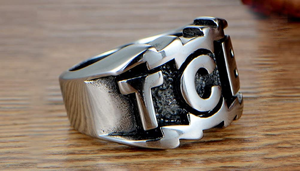 HIJONES Mens Stainless Steel Large Character TCB Biker Ring Rock Punk Style