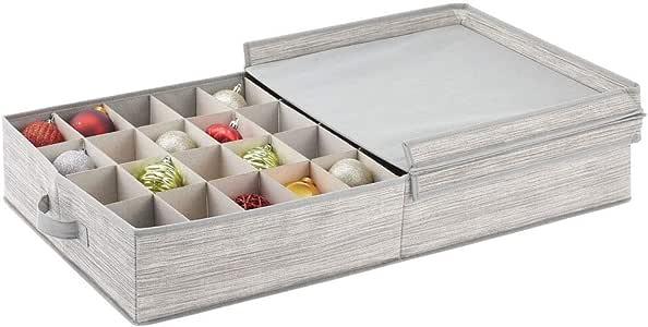 mDesign Organizador para Debajo de la Cama – Caja con Tapa Rectangular de Fibra sintética con 40 Compartimentos – Moderna Caja con divisiones para Cintas, Lazos, Accesorios, etc. – Gris y Beige: Amazon.es: Hogar