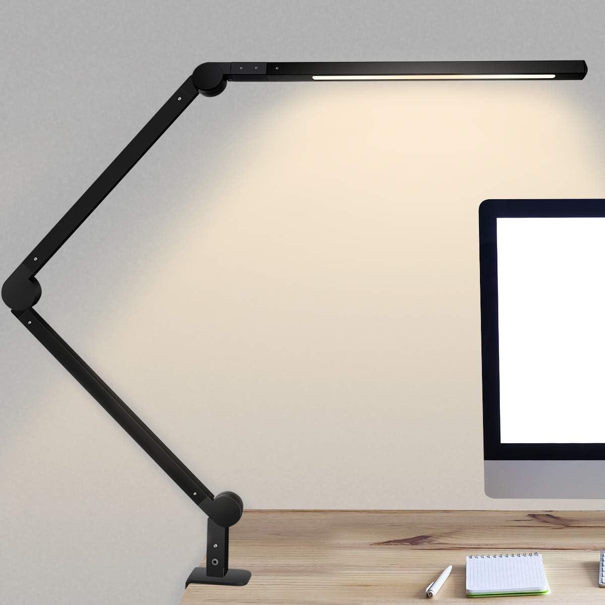 Lámpara Escritorio LED, 9W Lámpara de Mesa de Cuidado Ocular Brazo Oscilante Abrazadera Luz Regulable con 6 Modos de Color + Temporizador + Memoria para Lectura Trabajo Oficina