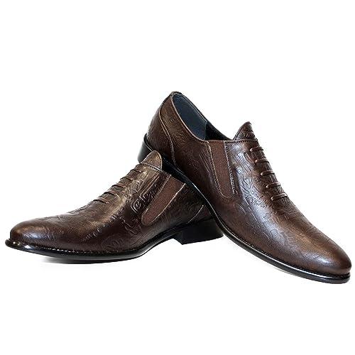 Modello Lamarko - Cuero Italiano Hecho A Mano Hombre Piel Marrón Mocasines y Slip-Ons Loafers - Cuero Cuero Repujado - Ponerse: Amazon.es: Zapatos y ...