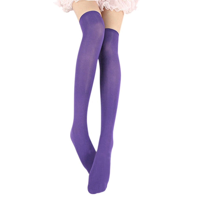 Lisli Women Girls Over the Knee Socks Thigh High Stockings Long Plain Socks (Purple)