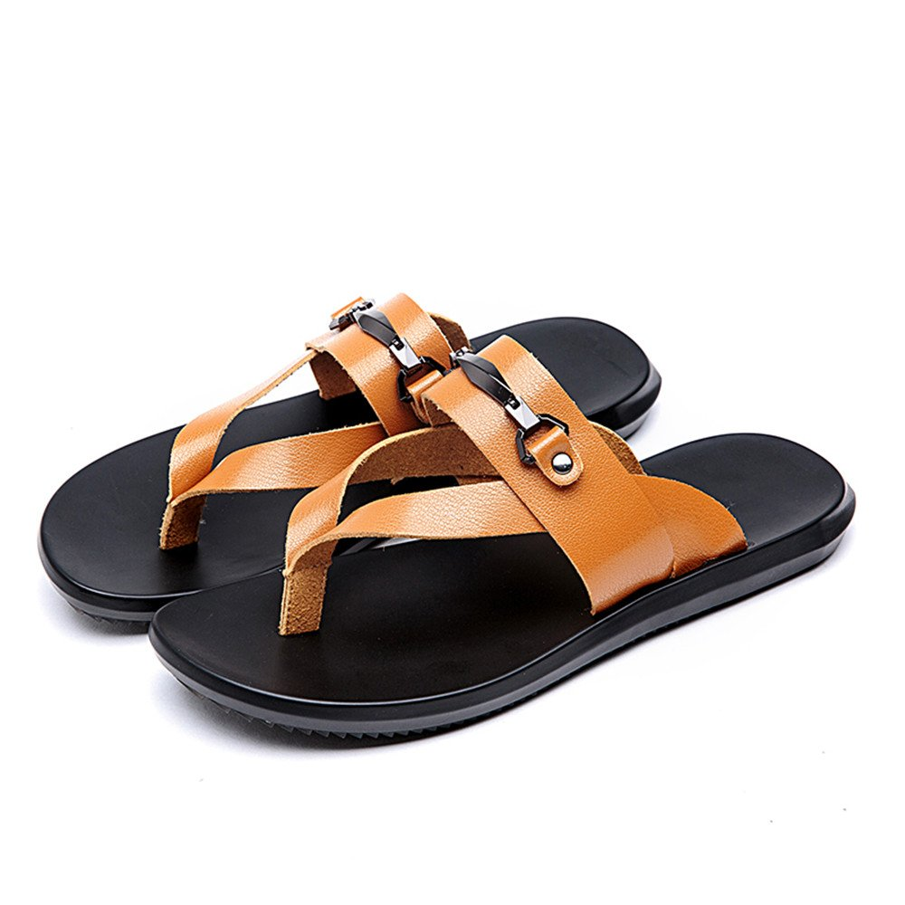 Fjhbljknkk Breathable Mens flip-Flops Beach Slippers Non-Slip Soft Bottom Sandals Soft
