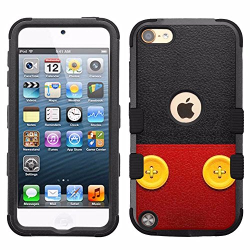 for iPod Touch 5/6, Hard+Rubber Dual Layer Hybrid Heavy-Duty Rugged Armor Cover Case - Mickey Mouse #Buttons