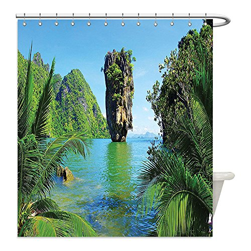 James Bond Costume Diy (Liguo88 Custom Waterproof Bathroom Shower Curtain Polyester Ocean Island Decor Collection James Bond Island Phang Nga Thailand Filming Cliff Geological Formation Picture Green Blue Decorative bathroo)