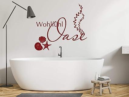 GRAZDesign Wandtattoo Wohlfühloase Badezimmer Sprüche, Muscheln Wellness /  56x50cm / 042 Flieder