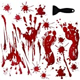 OTBBA Halloween Decorations(40 PCS), Horror Bloody Handprints&Footprints Stickers Halloween Decor Vampire Zombie Party Decals with One Plastic Scraper