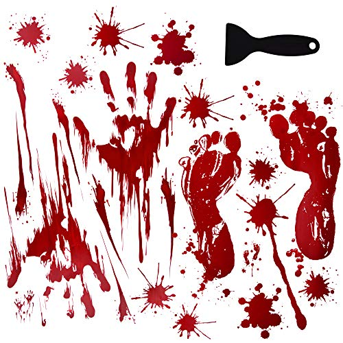 OTBBA Halloween Decorations(40 PCS), Horror Bloody Handprints&Footprints Stickers Halloween Decor Vampire Zombie Party Decals with One Plastic -