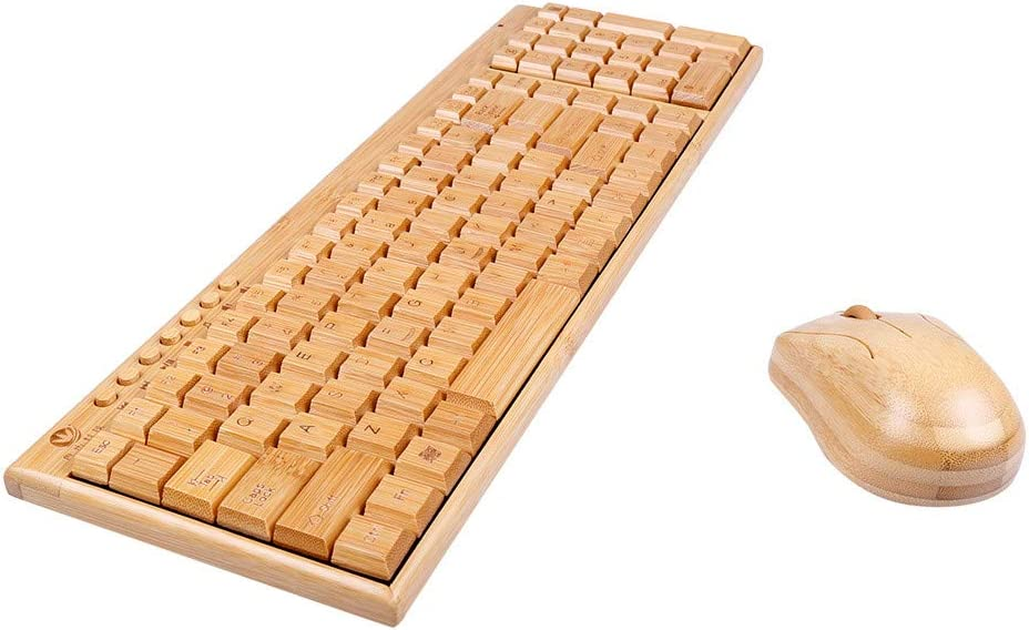 Lomsarsh New Mouse Handcrafted Natural Bamboo Wooden Pc Wireless 2.4ghz Keyboard and Mouse Combo Handmade Bamboo Wireless Keyboard and Mouse Set