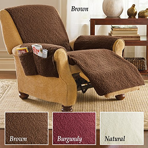 Fleece recliner furniture protector cover with pockets for Furniture covers with pockets