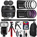 Canon EF 85mm f/1.8 USM Lens + Pro Flash + UV-CPL-FLD Filters + Macro Filter Kit + 72 Monopod + Tripod + 16GB Class 10 + Backpack + Spider Tripod + Wrist Strap + Card Reader - International Version