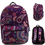 17'' Wholesale Padded Purple Paisley Backpack - Case of 24