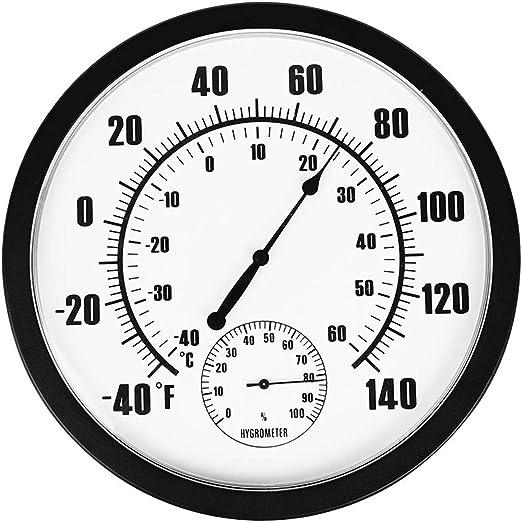 TONGXU Termómetro Higrómetro Interior y Exterior para Jardín Hogar Oficina Fábrica Almacén Decoración de Pared Medidor de Temperatura y Humedad No Requiere Batería Calibración Automática: Amazon.es: Jardín