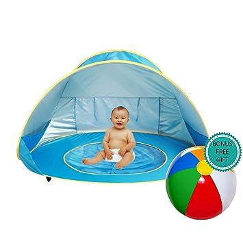 E-MANIS Tienda Playa Bebe,Pop-up Tienda de bebé con Piscina para Infantil Carpa Plegable Portátil Protección Solar Anti UV 50,Tienda Campaña Playa ...