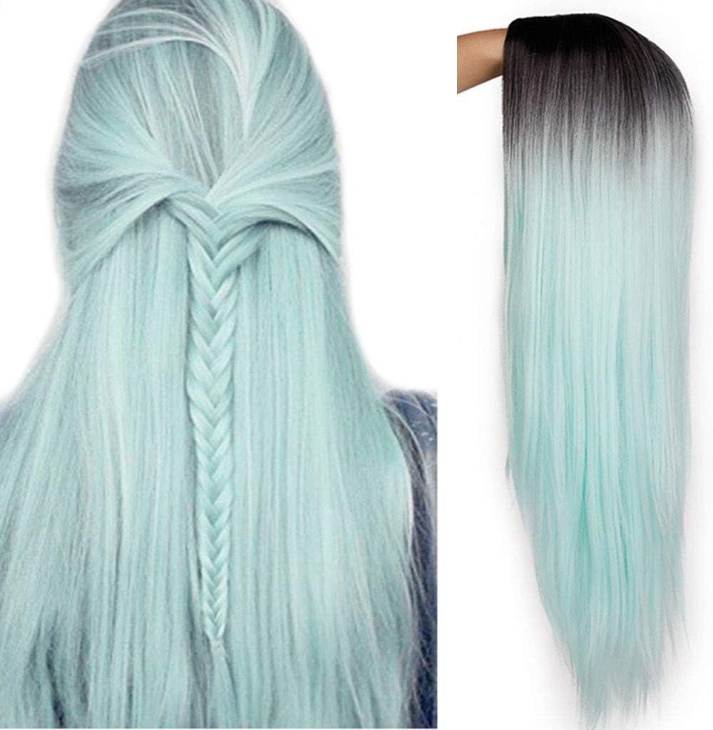 Wawer - Peluca de pelo sintético para mujer, color azul y ...