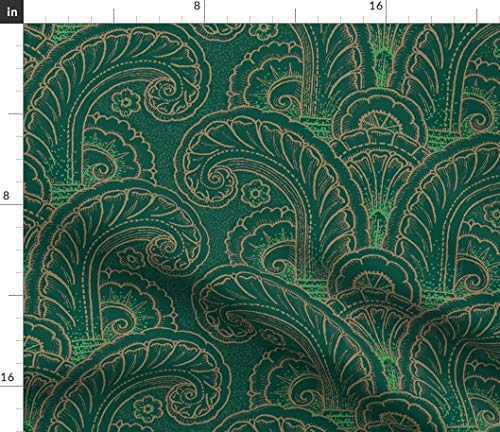 Spoonflower Swirl Design Fabric - Green and Gold Detailing Green Gold Swirl Minimalistic Lines by Muhlenkott Printed on Silky Faille Fabric by The Yard