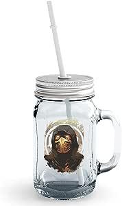 برطمان ماسون زجاجي من Sub Zero Mortal Kombat Character بغطاء وقش