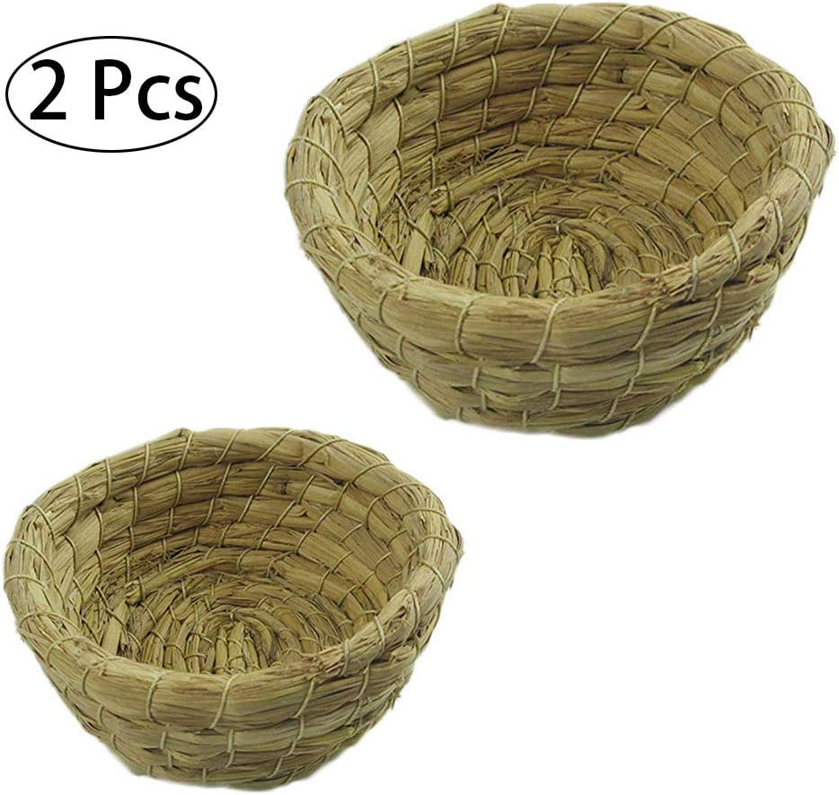 HPiano Nido de pájaro, 2 Piezas Lecho de Nido de Loro de Paja Hecho a Mano para Periquito Cockatiel Perico Canapí canabilero y Pequeña Caja de nidos para incubar en jaulas de Loros